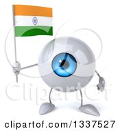 Clipart Of A 3d Blue Eyeball Character Holding An Indian Flag Royalty Free Illustration