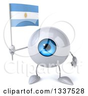 Clipart Of A 3d Blue Eyeball Character Holding An Argentine Flag Royalty Free Illustration