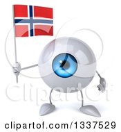 Clipart Of A 3d Blue Eyeball Character Holding A Norwegian Flag Royalty Free Illustration