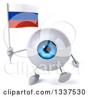 Clipart Of A 3d Blue Eyeball Character Holding A Russian Flag And Walking Royalty Free Illustration