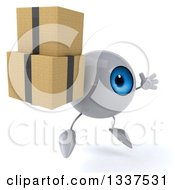 Clipart Of A 3d Blue Eyeball Character Facing Slightly Right Jumping And Holding Boxes Royalty Free Illustration