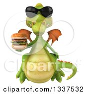 Clipart Of A 3d Green Dragon Wearing Sunglasses And Holding A Double Cheeseburger 2 Royalty Free Illustration