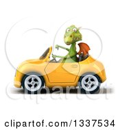 Clipart Of A 3d Green Dragon Giving A Thumb Down And Driving A Yellow Convertible Car 2 Royalty Free Illustration