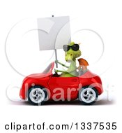 Clipart Of A 3d Green Dragon Wearing Sunglasses Holding A Blank Sign And Driving A Red Convertible Car 2 Royalty Free Illustration