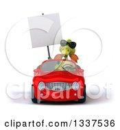 Clipart Of A 3d Green Dragon Wearing Sunglasses Holding A Blank Sign And Driving A Red Convertible Car Royalty Free Illustration