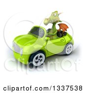 Clipart Of A 3d Green Dragon Driving A Convertible Car Royalty Free Illustration
