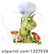 Clipart Of A 3d Green Dragon Chef Holding French Fries Over A Sign Royalty Free Illustration