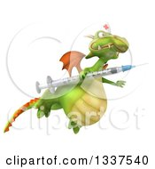 Clipart Of A 3d Green Dragon Nurse With A Giant Vaccine Syringe And Flying To The Right Royalty Free Illustration