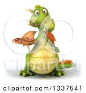 Clipart Of A 3d Green Dragon Holding A Pizza 2 Royalty Free Illustration