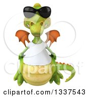 Clipart Of A 3d Casual Green Dragon Wearing Sunglasses And A White T Shirt Royalty Free Illustration
