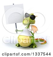 Clipart Of A 3d Casual Green Dragon Wearing Sunglasses And A White T Shirt Holding A Blank Sign Royalty Free Illustration