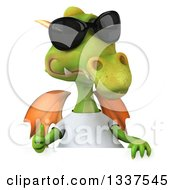 Clipart Of A 3d Casual Green Dragon Wearing Sunglasses And A White T Shirt Giving A Thumb Up Over A Sign Royalty Free Illustration