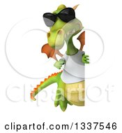 Clipart Of A 3d Full Length Casual Green Dragon Wearing Sunglasses And A White T Shirt Pointing Around A Sign Royalty Free Illustration