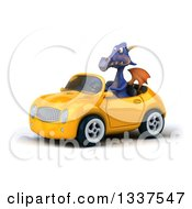 Clipart Of A 3d Purple Dragon Driving A Yellow Convertible Car Royalty Free Illustration