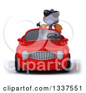 Clipart Of A 3d Purple Dragon Wearing Sunglasses Giving A Thumb Up And Driving A Red Convertible Car Royalty Free Illustration
