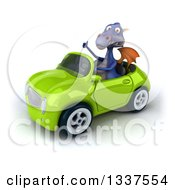 Clipart Of A 3d Purple Dragon Giving A Thumb Up And Driving A Green Convertible Car Royalty Free Illustration