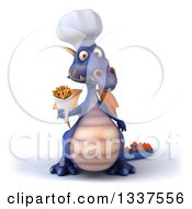 Clipart Of A 3d Purple Dragon Chef Holding French Fries Royalty Free Illustration