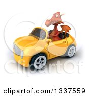 Clipart Of A 3d Red Dragon Driving A Yellow Convertible Car Royalty Free Illustration