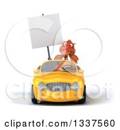 Clipart Of A 3d Red Dragon Holding A Blank Sign And Driving A Yellow Convertible Car Royalty Free Illustration