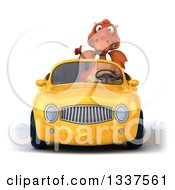 Clipart Of A 3d Red Dragon Giving A Thumb Up And Driving A Yellow Convertible Car Royalty Free Illustration