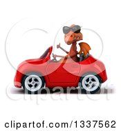 Clipart Of A 3d Red Dragon Giving A Thumb Up And Driving A Convertible Car Royalty Free Illustration