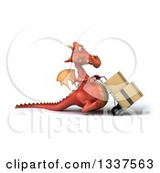 Clipart Of A 3d Red Dragon Walking To The Right Moving Boxes On A Dolly Royalty Free Illustration