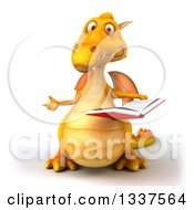 Clipart Of A 3d Yellow Dragon Presenting To The Left And Holding An Open Book Royalty Free Illustration