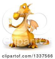 Clipart Of A 3d Yellow Dragon Holding A Glass Of Champagne And Facing Slightly Left Royalty Free Illustration