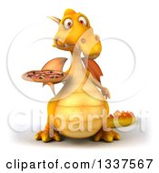 Clipart Of A 3d Yellow Dragon Holding A Pizza Royalty Free Illustration