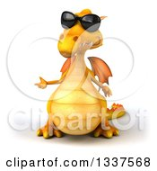 Clipart Of A 3d Yellow Dragon Wearing Sunglasses And Presenting Royalty Free Illustration