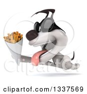 Clipart Of A 3d Jack Russell Terrier Dog Wearing Sunglasses Running To The Left And Holding French Fries Royalty Free Illustration