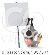 Clipart Of A 3d Happy Jack Russell Terrier Dog Holding A Waffle Ice Cream Cone Under A Blank Sign Royalty Free Illustration