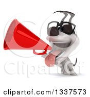 Clipart Of A 3d Bespectacled Jack Russell Terrier Dog Announcing To The Left With A Megaphone Royalty Free Illustration