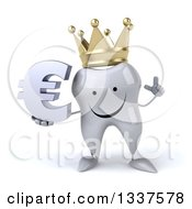 Clipart Of A 3d Happy Crowned Tooth Character Holding Up A Finger And A Euro Currency Symbol Royalty Free Illustration