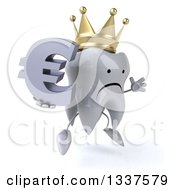 Clipart Of A 3d Unhappy Crowned Tooth Character Facing Slightly Right Jumping And Holding A Euro Currency Symbol Royalty Free Illustration