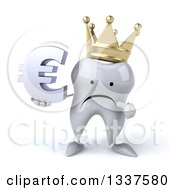 Clipart Of A 3d Unhappy Crowned Tooth Character Holding And Pointing To A Euro Currency Symbol Royalty Free Illustration