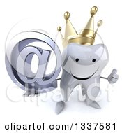 Clipart Of A 3d Happy Crowned Tooth Character Holding Up A Thumb And Email Arobase At Symbol Royalty Free Illustration