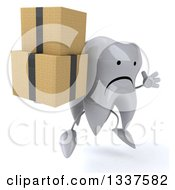 Clipart Of A 3d Unhappy Tooth Character Facing Slightly Right Jumping And Holding Boxes Royalty Free Illustration