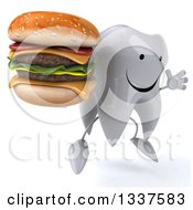 Clipart Of A 3d Happy Tooth Character Facing Slightly Right Jumping And Holding A Double Cheeseburger Royalty Free Illustration