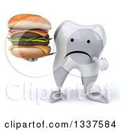 Clipart Of A 3d Unhappy Tooth Character Holding And Pointing To A Double Cheeseburger Royalty Free Illustration