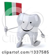 Clipart Of A 3d Happy Tooth Character Holding An Italian Flag And Walking Royalty Free Illustration