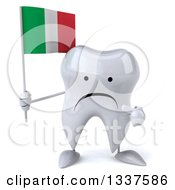 Clipart Of A 3d Unhappy Tooth Character Holding And Pointing To An Italian Flag Royalty Free Illustration