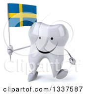 Clipart Of A 3d Happy Tooth Character Holding A Swedish Flag And Walking Royalty Free Illustration