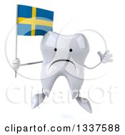 Clipart Of A 3d Unhappy Tooth Character Holding A Swedish Flag And Jumping Royalty Free Illustration