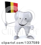 Clipart Of A 3d Happy Tooth Character Holding And Pointing To A Belgian Flag Royalty Free Illustration