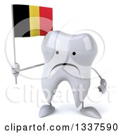 Clipart Of A 3d Unhappy Tooth Character Holding A Belgian Flag Royalty Free Illustration