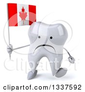 Clipart Of A 3d Unhappy Tooth Character Holding A Canadian Flag And Walking Royalty Free Illustration