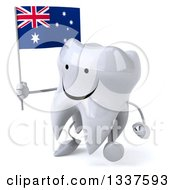 Clipart Of A 3d Happy Tooth Character Holding An Australian Flag And Walking Slightly To The Left Royalty Free Illustration