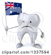 Clipart Of A 3d Unhappy Tooth Character Holding An Australian Flag Royalty Free Illustration