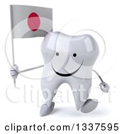 Clipart Of A 3d Happy Tooth Character Holding A Japanese Flag And Walking Royalty Free Illustration